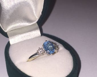 Blue Topaz and Diamond Ring in 18ct White Gold with valuation