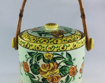 Yellow Floral Ice Bucket Cookie Jar Biscuit Jar Yellow with Bamboo Handle Japan