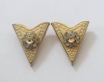Vintage Elks BPOE Red Star Enamel  Rhinestones on Gold Metal Collar Tips