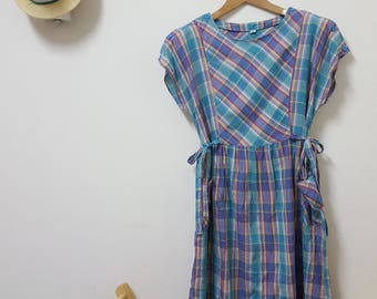 Buy 2 get 1 free,Vintage indian dress, Purple dress, Day dress, Summer dress, For her, Plaid Dress, Cotton dress