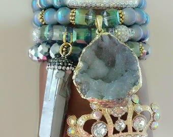 Designer Inspired Stone and Crystal Charm Bead Bracelet Set, anniversary gifts, birthday gifts, mother's day gifts, gifts for her
