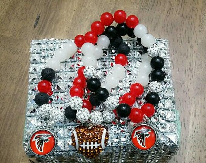 Red, Black & White Beaded Charm Bracelet Set