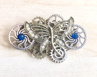 Steampunk COGS, gears, and blue Swarovski Crystal Butterfly pin