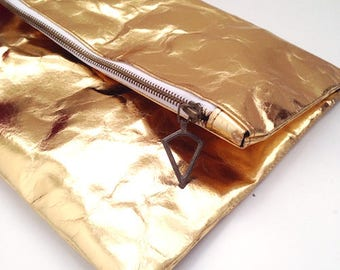 Gold Washable Paper Fold Over Clutch