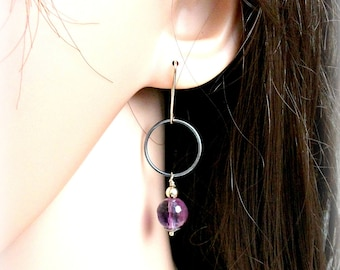 Amethyst Earrings On Gold & Silver - Mixed Metal Earrings - Gift For Her - FEBRUARY BIRTHSTONE