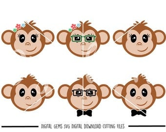 Monkey faces svg / dxf / eps / png files. Digital download. Compatible with Cricut and Silhouette machines. Small commercial use ok.