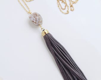Long Gray Leather Tassel and Natural Gray and Brown Druzy Stone Necklace with Gold Toned Chain