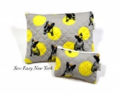 """Custom order for Frenchie Large zip pouch size 12""""W x 10""""H"""