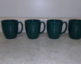 Corelle Stoneware Ceramic Green Made In Thailand Coffee Cups Set Of 4