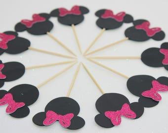 Pink Minnie Mouse Cupcake Toppers, Pink Glitter Minnie Mouse Toppers, Minnie Cupcake Toppers, Minnie Food Picks, Minnie Mouse Party Theme