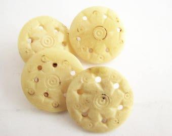 4 bone buttons with metal shanks, pierced bone button 20 mm, unused