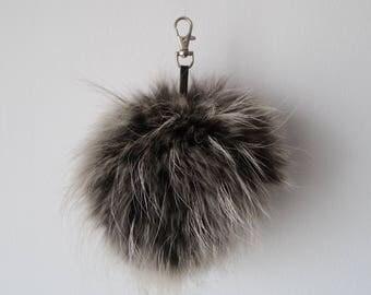 Fox Fur Pom Pom, Bag Pom Pom,Fur keychain F660