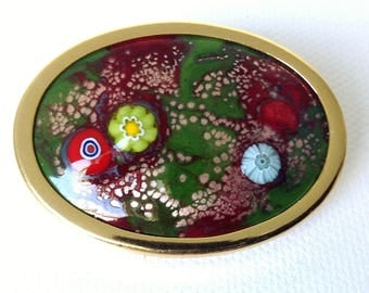 Vintage french enamel brooch, handmade enamel on copper pin, OOAK brooch, millefiori enamel