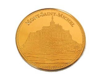 french collectible gold plated medal, Mont St Michel, monument token, collectable coin