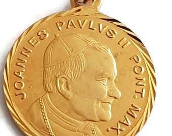 Vintage Pope John Paul II Medal, Joannes Paulus Pendant, Gold Plated Catholic Medal, French Christian Jewelry