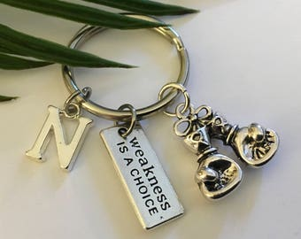 "Boxing Gloves Charm  ""Weakness is a choice"" Personalized Keyring ""Affordable And Gift Wrapped Buy Several"""