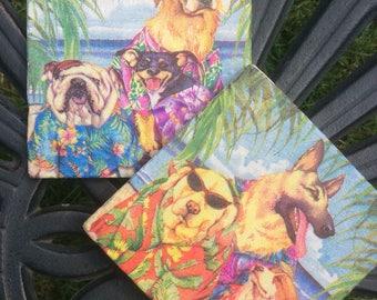 Dog Coasters ~Hawaain Dogs~Marble CoasterWhimsical~Illustrated Dogs-Dog Coasters-Tile Dog art-Dog Lover gift-Dog Lover decor-Tile art-marble