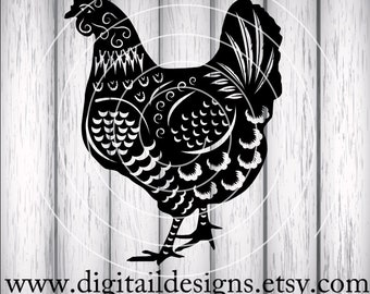 Chicken SVG - png - dxf - eps - fcm - ai - Cut file - Silhouette - Cricut - Detailed Chicken SVG - Chicken Cut File - Commercial Use SVG