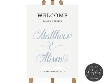 Blue and Black Wedding Welcome Sign, Modern Script, Free Colour Changes, DIY Printable We Print, Peach Perfect Australia