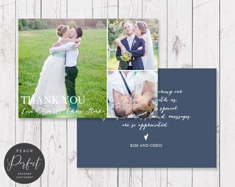 Navy and White Modern Wedding Thank Your Card with 3 Photos, Free Colour Changes, Professionally Printed - Peach Perfect Australia