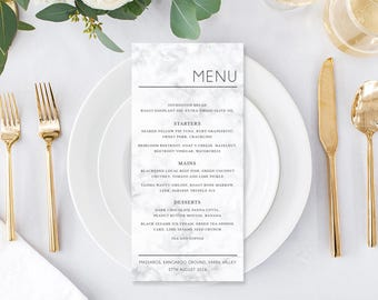 Wedding Menu, Printable Menu, Customised, Grey and White Marble, Free Colour Changes, DIY Wedding, Print Your Own, Marble Sweetness Suite