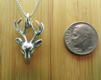 Small Stag Pendant or Earrings -STERLING SILVER- Chain Optional