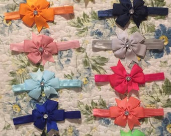 Set of 11 Three inch pinwheel head band bow with faux rhinestone center