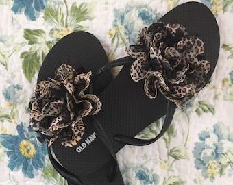 Leopard floral sandal