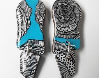 """Wavy dangle earrings – """"Aqua rose"""" (wearable art, eco wood, floral)"""