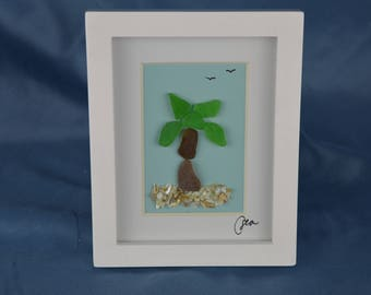 Seaglass palm tree, seaglass art, 4in x 5in framed color seaglass, tropical, island life, coastal decor