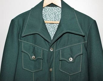 Vintage 70s Mod Forest Green Leisure Suit Jacket Blazer Polyester Knit Wide Lapel Anchor Man Sportcoat Disco 38 Chest