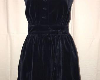 Vintage 1990's Navy Crush Velvet Dress / size 9/10 / by Lanz