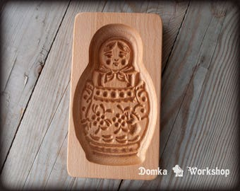 Matryoshka. Wooden carving mold for gingerbread, springerle cookie.