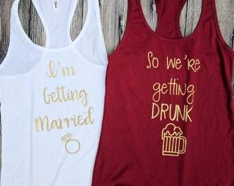 Bridesmaid shirts, matching bridesmaid shirts, bridal party shirts, matching bridesmaid tank tops, Bachelorette party shirts, funny bride