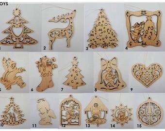Set of 20 wooden eco-friendly Christmas tree toys / wood Сhristmas decoration / wood  X-mas ornaments / Christmas tree balls/ Ukrainain gift