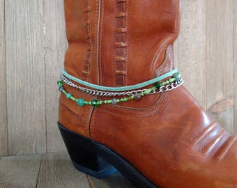 Jade boot bracelet, Green boot bracelet, Gemstone boot jewelry, Boot anklet, Fashion boot jewellery, Boot bracelet, Boot bling, Boot chain