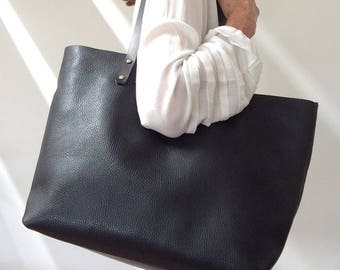 Leather Tote bag , Leather bag , Large Tote bag  , Leather handbag , Shopping bag , Womens leather bag, Shoulder bag , Black tote
