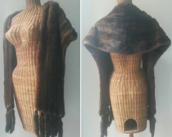 50's Stunning Real Mink Fur Shawl, Detachable Tails, Excellent Condition, Fully Lined. Soft and Supple Pelts, Chocolate Brown. Vintage Stole