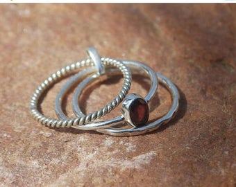 On Sale Natural Dark Red Garnet Ring - Gemstone Ring - Stacking Ring - Gemstone Jewelry - Handmade Jewelry