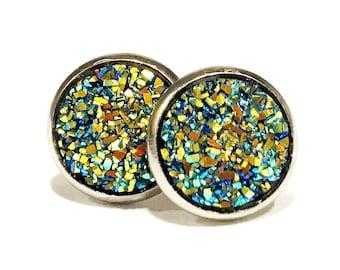 sparkle stud earring, glitter stud earrings, druzy post earrings, stainless steel earrings studs, 12mm stud earrings, druzy jewelry