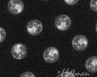 Halloween Fabric, Full Moon, Halloween Screenprint fabric, Moon Fabric, Onyx with silver metallic accents, by Hoffman, 4349