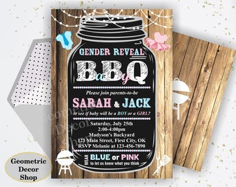 BBQ Co-ed Baby Shower Invite Gender reveal Boy Girl Invitation Digital Printable Pool Party Beach Wood Chalkboard Rustic Barbecue BSBBQ1