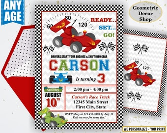 Race car birthday invitation - race car party invite - race car - first birthday - Photo - Photograph - Cars - Red Blue Green BDCar13