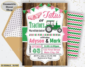 Gender reveal / invitation / tractor / tutu / wood / rustic / gender / neutral / baby / shower / pink / green / boy / girl / farm /BSGR1