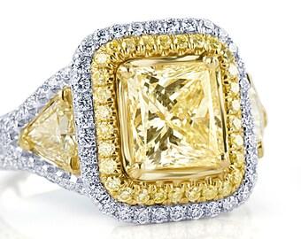 3.79 Ct Diamond Engagement Ring, Princess Cut Diamond Ring w/ Trillion Sides, Yellow Diamond Engagement Ring, Halo Diamond Engagement Ring