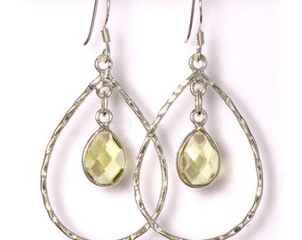 Green Quartz Earrings, 925 Sterling Silver, Unique only 1 piece available! color green, weight 2.8g, #41309