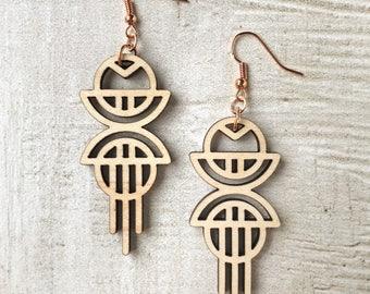 Figure 8 Earrings | Lasercut, Wood, Maple, Wood Cut, Rose Gold, Tribal, Modern, Jewelry, Dangle, Geometric, Modern, Circles, Wooden