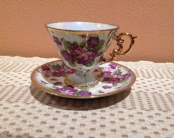 Lusterware Opalescent Pedestal Teacup Violets and Gold Sterling China Japan