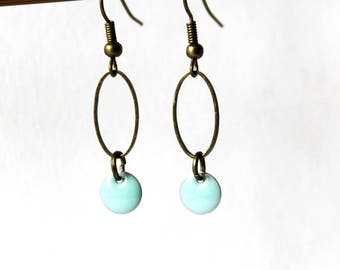 Enamelled Sequin sea green earrings