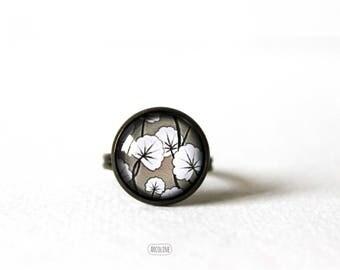 Ring cabochon 14 mm Retro Vintage Floral Japanese ° ° °